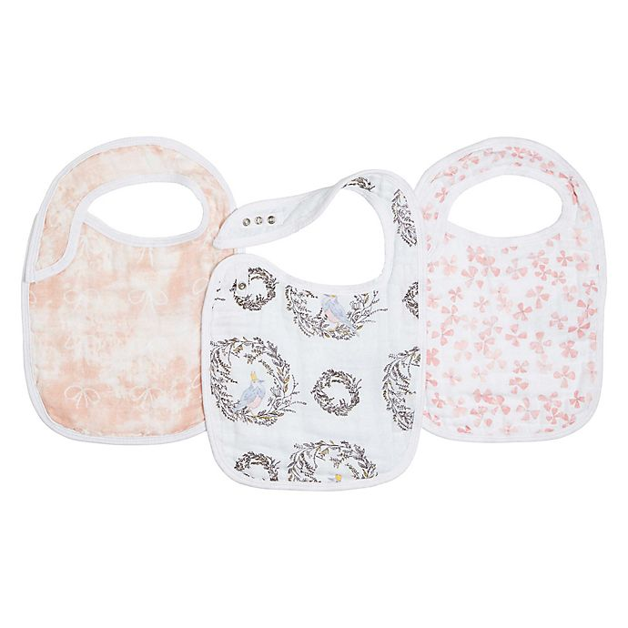 Alternate image 1 for aden + anais® 3-Pack Birdsong Classic Muslin Snap Bibs in Pink
