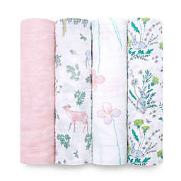aden + anais® 4-Pack Forest Fantasy Muslin Swaddle Blankets in Pink