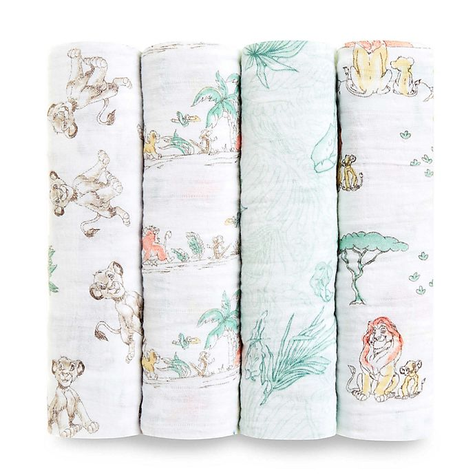 Alternate image 1 for aden + anais® 4-Pack Disney® The Lion King Cotton Swaddle Blankets