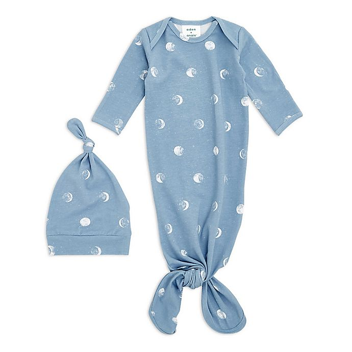 Alternate image 1 for aden + anais® 2-Piece Moon Comfort Knit Gown and Hat Set