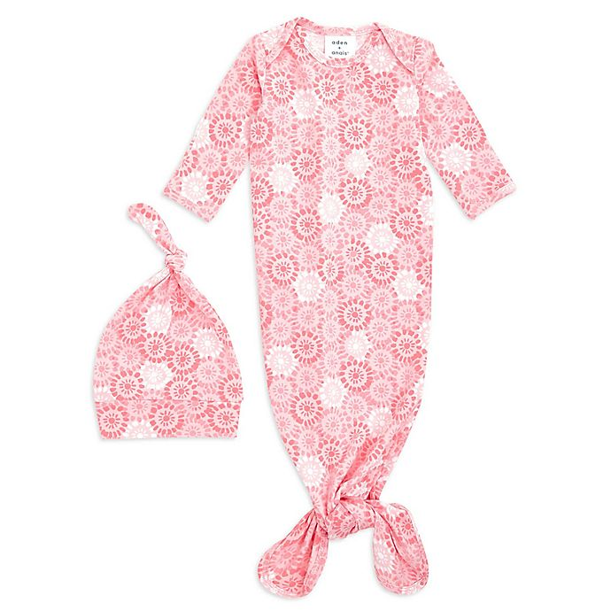 Alternate image 1 for aden + anais® 2-Piece Sunburst Comfort Knit Gown and Hat Set in Pink