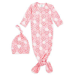 aden + anais® 2-Piece Sunburst Comfort Knit Gown and Hat Set in Pink