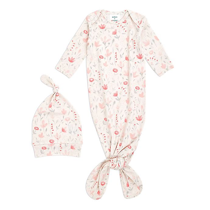 Alternate image 1 for aden + anais® 2-Piece Perennial Comfort Knit Gown and Hat Set in Blush