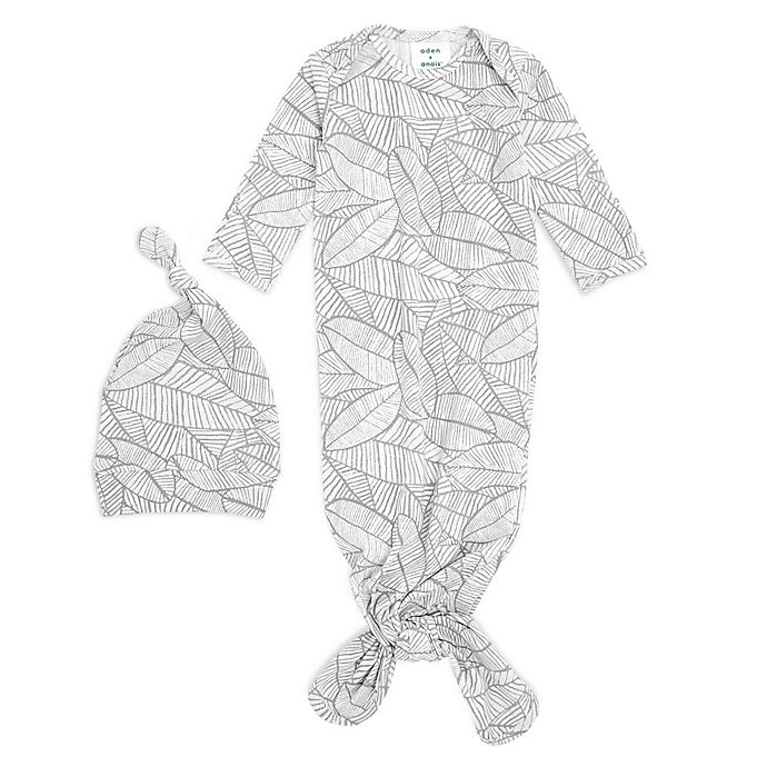 Alternate image 1 for aden + anais® 2-Piece Zebraplant Comfort Knit Gown and Hat Set in White