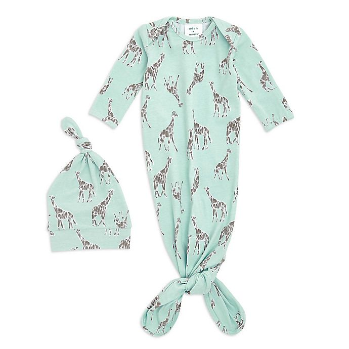 Alternate image 1 for aden + anais® 2-Piece Giraffe Comfort Knit Gown and Hat Set in Mint