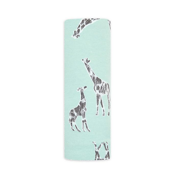 Alternate image 1 for aden + anais® Giraffe Swaddle Blanket in Mint