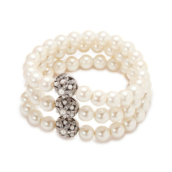 77e273673a Carolee New York Violet Three Row Pearl and Crystal Stretch Bracelet ...