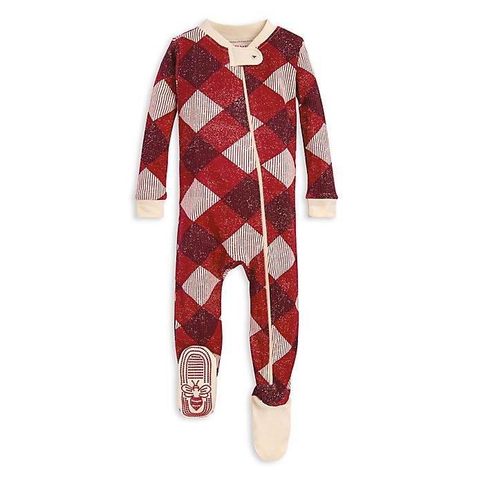 Alternate image 1 for Burt's Bees Baby® Abstract Argyle Organic Cotton Sleeper in Red/Ivory