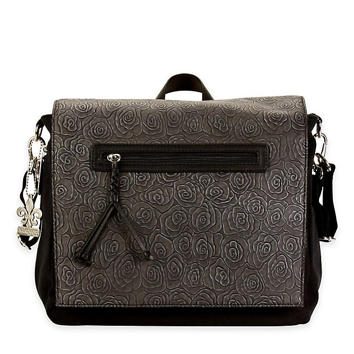 Alternate image 1 for Kalencom® Toyko Diaper Bag Rosebud Print in Black