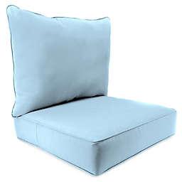 Solid 2-Piece Pillow Back Chair Cushion in Sunbrella® Canvas Air Blue