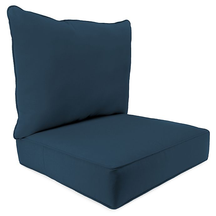 Alternate image 1 for Solid 2-Piece Pillow Back Chair Cushion in Sunbrella® Spectrum Indigo