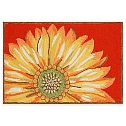 Trans Ocean Sunflower Indoor/Outdoor Accent Rug in Red