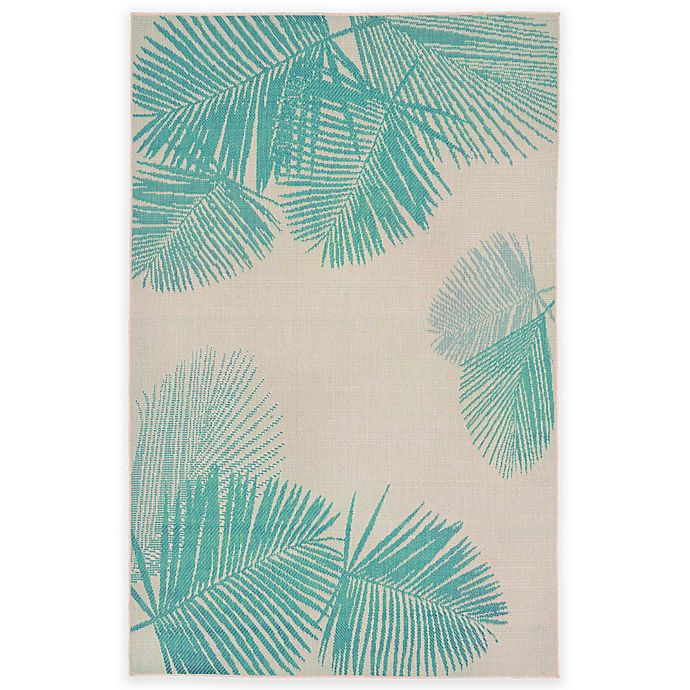 Alternate image 1 for Liora Manne Terrace Palms 3-Foot 3-Inch x 4-Foot 11-Inch Indoor/Outdoor Rug in Turquoise