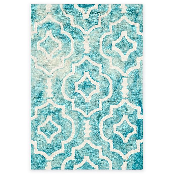 Alternate image 1 for Safavieh Dip Dye Moroccan Trellis 3-Foot x 5-Foot Area Rug in Turquoise/Ivory