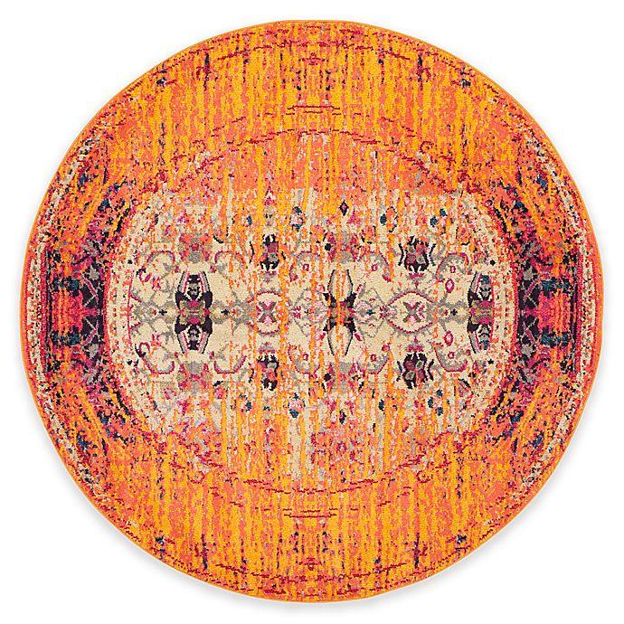 Alternate image 1 for Safavieh Monaco Timeo 6-Foot 7-Inch Round Area Rug in Orange Multi