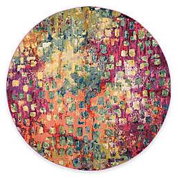 Safavieh Monaco Watercolor 6-Foot 7-Inch Round Area Rug in Pink Multi