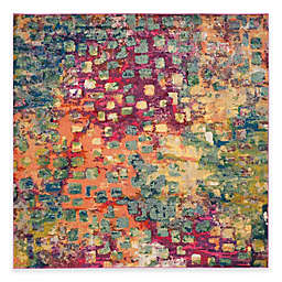 Safavieh Monaco Watercolor 6-Foot 7-Inch Square Area Rug in Pink Multi