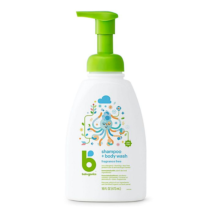 Alternate image 1 for Babyganics® 16 oz. Foaming Shampoo + Body Wash in Fragrance-Free