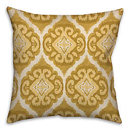 Watercolor Square Throw Pillow in Gold/White