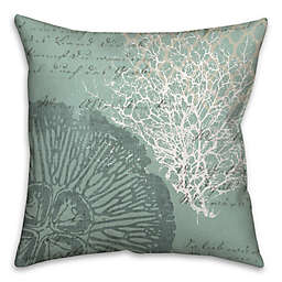 Vintage Writing 16-Inch Square Throw Pillow in Blue/White