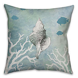 Conch Shell Throw Pillow in White/Blue