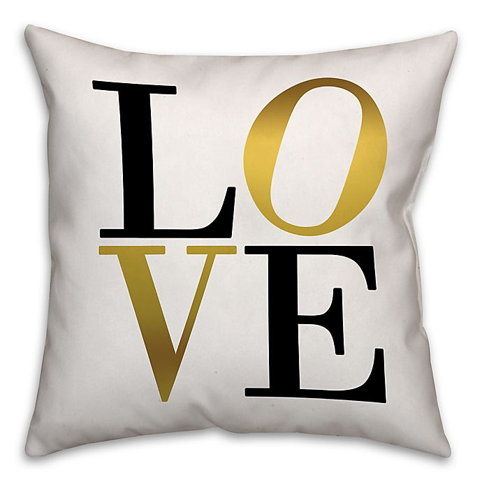 Alternate image 1 for Golden Love Square Throw Pillow