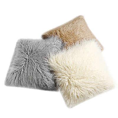 Decorinnovation 18-Inch Mongolian Lamb Faux-Fur Square Throw Pillow