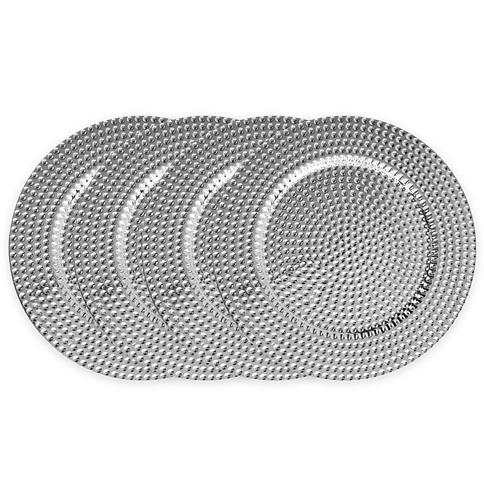 Alternate image 1 for ChargeIt! by Jay Beaded Charger Plates in Silver (Set of 4)