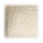 Decorinnovation 18-Inch Mongolian Lamb Faux-Fur Square Throw Pillow in Ivory