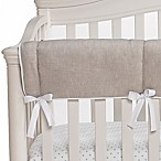 Liz and Roo Monogram Linen Crib Rail Guard in Flax