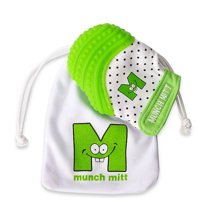 Alternate image 1 for Munch Baby Munch Mitt Baby Teething Mitten in White/Green