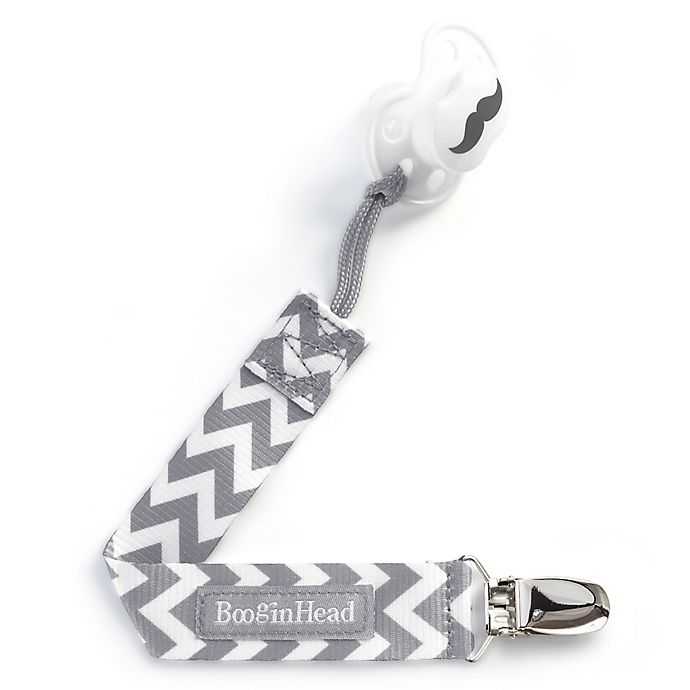 Alternate image 1 for BooginHead® PaciGrip in Grey/White Chevron