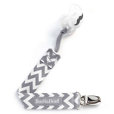 BooginHead® PaciGrip in Grey/White Chevron