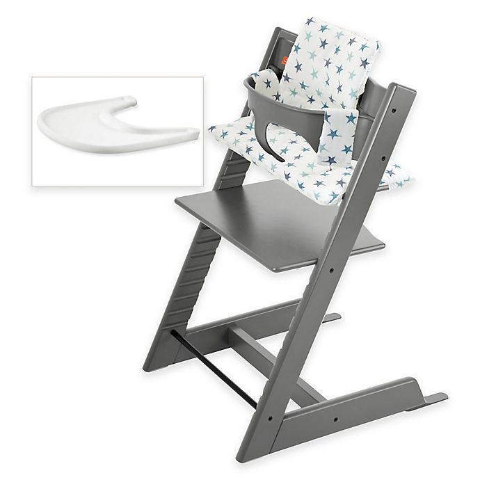Stokke Tripp Trapp High Chair Complete Bundle In Storm Grey Bed