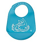 Modern Twist Owls Silicone Bib in Blue