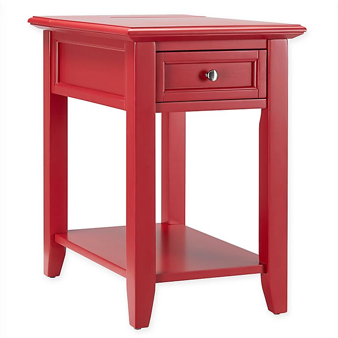 buy verona home darbey hidden outlet accent table in red from bed bath beyond. Black Bedroom Furniture Sets. Home Design Ideas