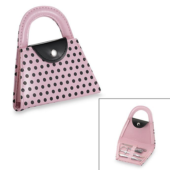 Alternate image 1 for Kate Aspen® Purse Manicure Set in Pink Polka