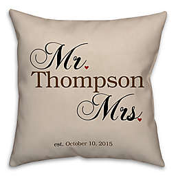 """""""Mr. and Mrs."""" Established Square Throw Pillow in Beige"""