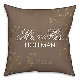 """""""Mr. and. Mrs."""" Golden Branch Square Throw Pillow in Brown"""
