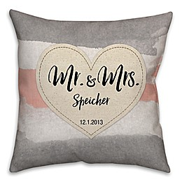 """""""Mr. & Mrs."""" Watercolor Linen Love Square Throw Pillow"""