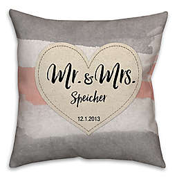 """Mr. & Mrs."" Watercolor Linen Love Square Throw Pillow"
