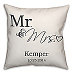 Mr. and Mrs.  Scripted Heart 16-Inch Square Throw Pillow in White