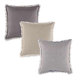 Aura Striped Linen Fringed Square Tonal Pillow