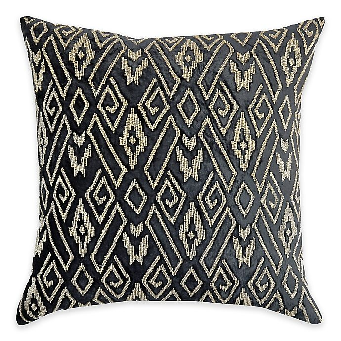 Alternate image 1 for Callisto Home Geometric Gold Beaded Avanti Square Throw Pillow in Grey
