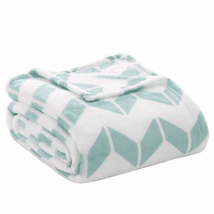 Alternate image 1 for Intelligent Design Full/Queen Chevron Plush Blanket in Aqua/White