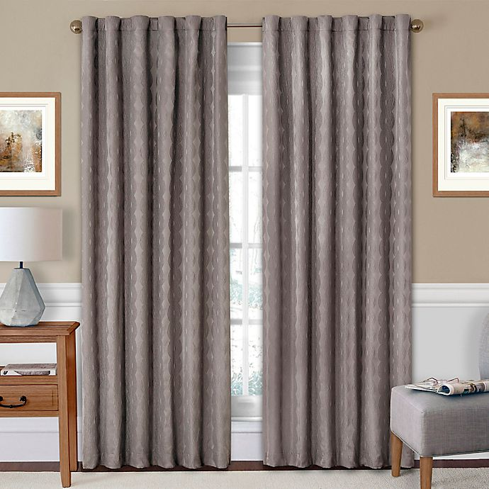 Alternate image 1 for SolarShield® Holly 63-Inch Rod Pocket/Back Tab Room-Darkening Window Curtain Panel in Charcoal