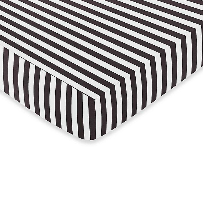 Alternate image 1 for Sweet Jojo Designs Paris Fitted Crib Sheet in Black and White Stripe