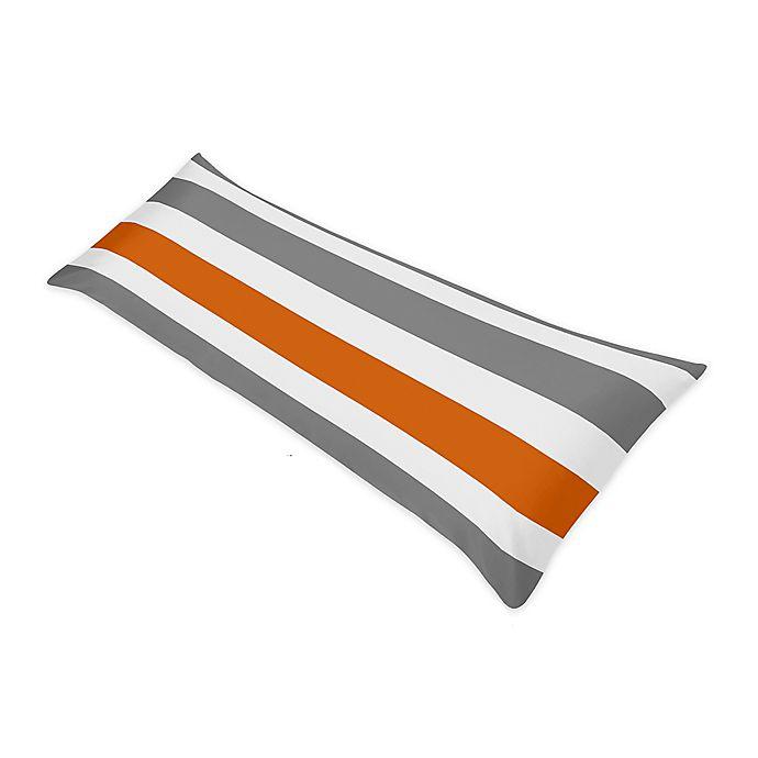 Alternate image 1 for Sweet Jojo Designs Grey and Orange Stripe Body Pillow Case