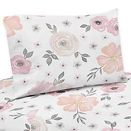 Sweet Jojo Designs® Watercolor Floral Twin Sheet Set in Pink/Grey