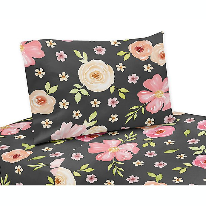 Alternate image 1 for Sweet Jojo Designs® Watercolor Floral 3-Piece Twin Sheet Set in Black/Pink